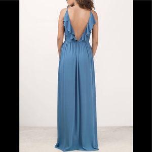 Elegant stone blue maxi dress